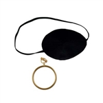 Deluxe Pirate Eye Patch with Plastic Gold Earring