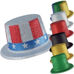 Glittered Top Hat - 24/pkg (Select Color)