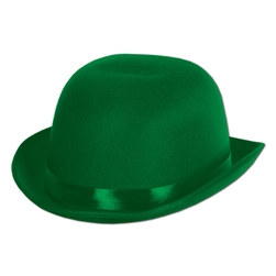 Green Satin Sleek Derby Hat