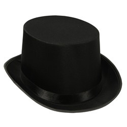 Black Satin Deluxe Top Hat - Perfect for parties or your SteamPunk look.