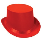 Red Satin Deluxe Top Hat
