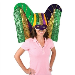 Masked Mardi Gras Hat with Sequined Drape