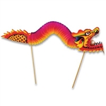 The Dragon Pick is constructed of brightly colored card stock and vibrant colored tissue paper on 6 inch wood picks. The tissue body extends up to 26 inches in length between the card stock head and tail. The open mouth contains an artificial pearl.