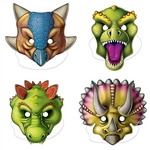 The Dinosaur Masks are made of cardstock with elastic attached. Printed on one side. Sizes range in measurement from 10 1/4 inches to 11 1/2 inches. Sold in assorted designs. Contains 4 masks per package. For ages 3+