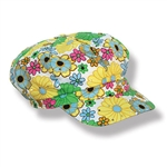 You'll be the grooviest one at the party with our Fabric 60's Flower Print Hat!  This vibrantly colored hat features multi-colored flowers and sparkle dots on a white cloth background.