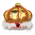 Now anyone can be party royalty!  Our Fabric King's Crown will be the crowning piece of your royal costume! One size fits most, this crown looks regal in gold with red and gold details.  Stands approximately 6.5 inches tall.