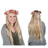 The Floral Crown is made of light and dark pink roses and small white flowers attached to a wrapped wire with a ribbon bow attached to the back. Has circumference of approx 20 inches. Fits adult head size. One size fits most. No returns.