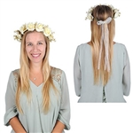 The Floral Crown has leaves, white roses, and small white flowers attached to a wrapped wire with a sheer white ribbon bow attached to the back. One size fits most. Adjustable. One size fits most. One per package. No returns.