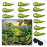 The Pin The Tail On The Dinosaur Game is made of plastic material. Each package includes a total of 14 pieces: (1) dinosaur picture - 18 in by 21 1/2 in, (1) blindfold mask, and (12) numbered tails.