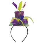 An easy way to get in the Mardi Gras spirit without dressing as a jester!  This one size fits most headband features a sparkly purple hat with gold trim , green and purple ribbon, and yellow, green and purple feathers.