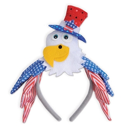 What better way to show your patriotic pride than wearing a Patriotic Eagle on your head?  These one size fits most headbands are great for parties, voter registrations, elections, and celebrations.