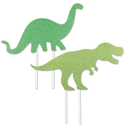 Leave dinosaur footprints in your icing with the fun, colorful, and dinosaur sized cake toppers.  They're just the think to finish of your Dino themed party table.  Food save and fun for everyone.  Two toppers per package as shown.