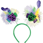 Celebrate like you're in the Big easy with these colorful fun & kinetic Mardi Gras boppers.  One size fits most, each bopper has one green and one purple Mardi Gras Mask, ribbon & green and yellow feathers.