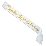 Make sure everyone knows who the birthday guest of honor is with this striking gold on white Glittered Happy 50th Birthday Satin Sash.  One size fits most.  Comes one per package.