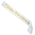 Make sure everyone knows who the birthday guest of honor is with this striking gold on white Glittered Happy 70th Birthday Satin Sash. One size fits most.