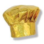 Be the top chef at the party with this eye catching Prismatic Gold Chef's Hat.   Our one size fits most chefs hat is great for a costume party, hosting a dinner party, or putting on a top chef contest.