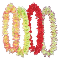 "Whether you planning a Jungle, Luau or Cruise party, your guest will love this colorful Aloha Floral Lei four piece set. Each package includes four 36.5"" leis with colors as pictured. Not intended for children."