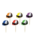 Just the thing to set off your Derby Day menu, these Jockey Helmet pocks will add an extra touch of color and fun to any dish!  Sold 50 per package, the helmets are 2.25 inches wide by 1.75 inches tall.  The pick extends approximately 1.5 inches.