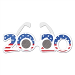 "Looking for a timely way to show off your patriotic pride, support your party, or just have fun?  These 2020 Patriotic Plastic Eyeglasses are just what you're looking for!  One size fits most.  Glasses are 8.25"" wide by 2.25"" tall."