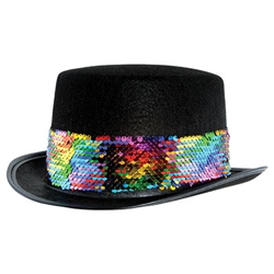 Celebrate yourself with this striking Black Felt Topper with Rainbow Sequined Band.  This one size fits most adults topper has a 4.5 inch tall crown, 1.5 inch wide brim and a head opening 24 inched in circumference.