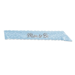 Everyone will know who the guest of honor is, no matter how far along she is, with this classic Mom To Be Lace Sash in Blue.  This one size ft's most sash in baby blue includes Mom too Be embroidered in silver script.