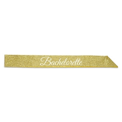 Make sure the guest of honor is ready for her big night with this Bachelorette Glittered Sash.  This one size fits most sash is sure to bring a smile to all the party goers and leave no doubt of who's getting hitched!  Reusable with care.