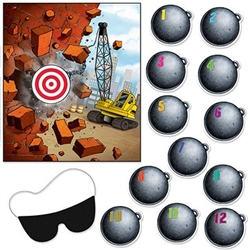 The Pin The Wrecking Ball On The Crane Game is made of cardstock and measures 16 1/2 inches by 19 inches. Each package includes one cardstock blindfold with an elastic band attached and 12 numbered wrecking balls.