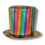 "Wear a rainbow on your head with this Fabric Rainbow Hat. Great for retro parties, rainbow themes and even just for fun!  One size fits most, brim is approximately 1' in diameter, crown stands 8"" tall."