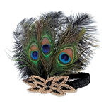 "Need the perfect finish for an Instagram ready Great 20's or Gangster costume theme?  This Flapper Peacock Headband is sure to put you over the top!  One size fits most adults. Feathers are approximately 8"" tall.  One headband per package."