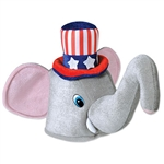 This one size fits most adults plush hat is 11.5 inches tall with a head opening 21.5 inches in circumference. The trunk is 13.5 inches long.  Please note: Due to hygiene concerns, this item is non-returnable.