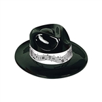 "Looking for a great way to ""top off"" your music themed party outfit?  This Black Plastic Fedora with Music Band may be just what you're looking for.  This one-size-fits-most fedora is molded of glistening black plastic with a high-contrast white hat band."