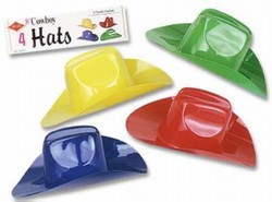 Miniature Plastic Cowboy Hats, 8.5 x 3.5in (4/Pkg)