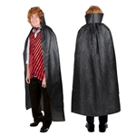 The Magician's Cape is made of black polyester with a string tie to secure around your neck. Measures 4 feet 9 inches long. One size fits most. One per package. No returns.