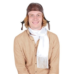 The Aviator Hat & Scarf Set includes 1 faux brown leather hat and a white scarf with fringe. The hat is one size fits most and the scarf measures 40 inches long and 6 inches wide. Due to hygiene-related concerns, this item is not eligible for return.