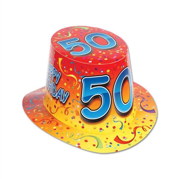 Orange Happy 50 Birthday Hi Hat Sold 25 Per Box