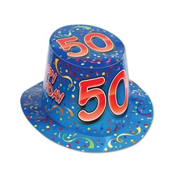 Blue Happy 50 Birthday Hi-Hat (sold 25 per box)