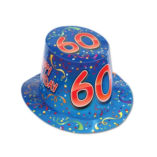 Blue Happy 60 Birthday Hi Hat Sold 25 Per Box