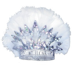 Silver Prismatic Tiara with White Feathers (sold 50 per box)