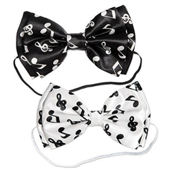 The Musical Notes Bow Ties are made of fabric with an elastic attachment for a comfortable fit. Comes 4 per pack. 2 black bow ties with white musical notes and 2 white bow ties with black musical notes. One size fits most. No returns.