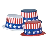 Assorted Patriotic Plastic Topper Hats (sold 25 per box)