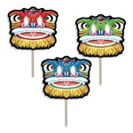 Chinese Lion Mask Fan with Dowel