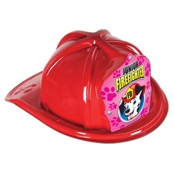 Junior Red Firefighter Hat (Dalmatian Pink Shield)