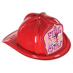Junior Red Fire Chief Hat (Dalmatian Pink Shield)