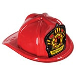 Red Plastic Firefighter Hat (Firefighter Shield)