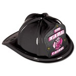 Junior Black Fire Chief Hat (Pink Shield)