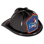 Junior Black Fire Chief Hat (Dalmatian Blue Shield)