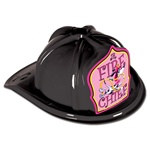 Junior Black Fire Chief Hat (Dalmatian Pink Shield)