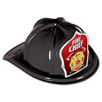 Black Fire Chief Hat (Silver and Red Shield)