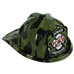 Green Camo Plastic Jr Firefighter Hat (child size)