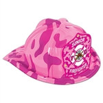 Pink Camo Plastic Jr Firefighter Hat